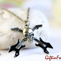 Rock The Bonez - Unisex Vintage Style Pirate Skull Skeleton Necklace With Guitars Bronze Plated Steampunk OOAK by Giftin For Fifteen