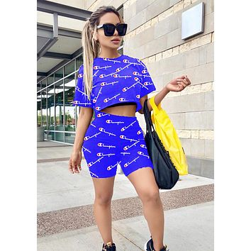 Champion Newest Hot Sale Women Casual Logo Print Short Sleeve Top Shorts Set Two-Piece Sportswear Blue