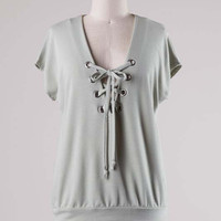 Sage Lace Up Top