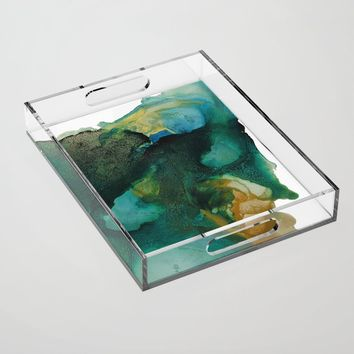Green and Gold Acrylic Tray by duckyb
