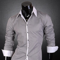 Aliexpress.com : Buy 2014 New Jeansian Brand Designer Mens Long Sleeve Fashion Dress Casaul Shirt T Free Shipping S M L XL XXL Gray 1073 from Reliable shirt wholesale suppliers on xiao lizhen's store