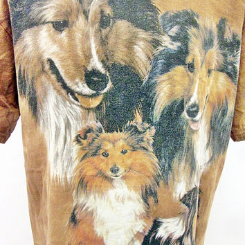 Vintage 90s Lassie Dogs Collie Dog Animal Print T-Shirt Large