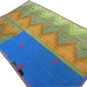 Vintage Kantha Quilt Blanket Throw Made With Antique Cotton Saree Wholesale Bedspread India