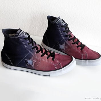 Terracotta red & dark blue ombre dip dye Converse One Star, upcycled high tops, transformed sneakers, eu 41 (uk 7.5, us wo's 9.5, mens 7.5)