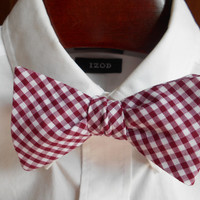 Alabama Crimson Gingham Bow Tie