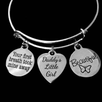 Beautiful Daddy's Little Girl Jewelry Adjustable Charm Bracelet Silver Expandable Bangle Daughter Gift Your First Breathe Took Mine Away