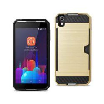REIKO ALCATEL ONE TOUCH IDOL 4 SLIM ARMOR HYBRID CASE WITH CARD HOLDER IN GOLD