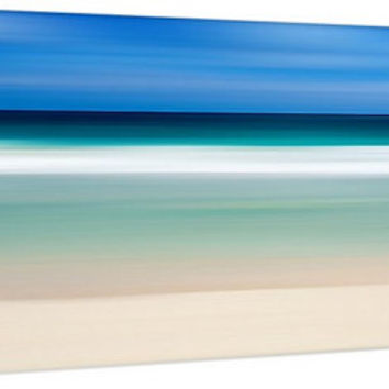 Ocean Waves Art Canvas Gallery Wrap Beach Photography Abstract Artwork Caribbean Sea Nautical Decor Panoramic Print Blue Aqua Teal Turquoise