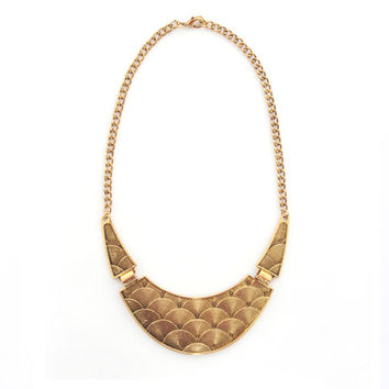 Gold egyptian statement necklace, golden bib necklace, gold chunky collar necklace