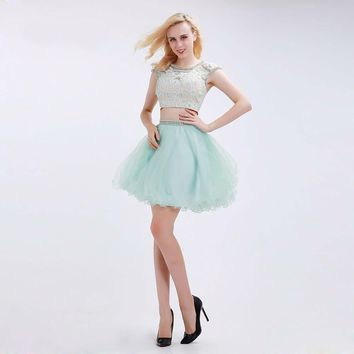 Mint Green Short Homecoming O-neck Cap Sleeves Beading Lace Two Piece Party Gowns Sexy Backless Tulle Mini Prom Dress