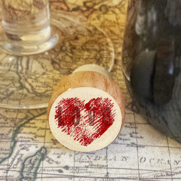 Wine Stopper, LOVE  Handmade Wood Cork, Handrawn Heart Bottle Stopper, I Love You Gift, Wood Top Cork Stopper, Valentine's Day Gift