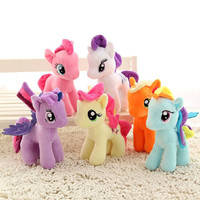 1pcs 25cm cartoon kids TV Rainbow little horse toy Plush toys poni Unicorn doll toys for Children christams day Toys soft dolls
