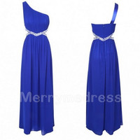 Beads Dark Royal Blue One-shoulder Empired Short Bridesmaid Celebrity Dress, Chiffon Formal Evening Party Prom Dress Homecoming Dress
