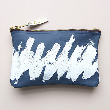 Leather Scumble Make Up / Zip Purse in Deep Blue by Rosie Drake Knight
