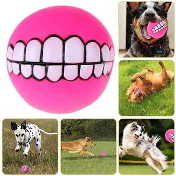 Funny Cute Pets Dog Puppy Cat Ball Teeth Toy Thickening PVC Chew Sound Dogs Play Fetching Squeaker Squeaky Toys Pet Supplies
