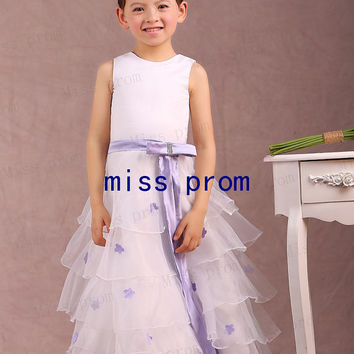 Jewel sleeveless organza tiered with sash bow flower girl dress