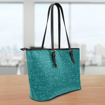 Math Teacher Small Leather Tote Bag