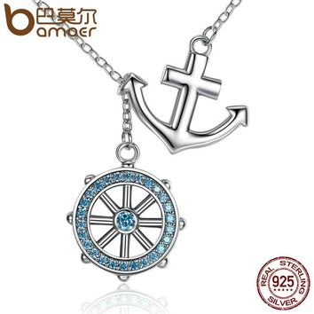 925 Sterling Silver Blue Anchor & Rudder Pendants & Necklaces Wedding Jewelry 45CM SCN049