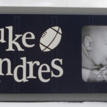 Football Nursery, Personalized Baby Nursery Photo Frame gift, Navy Blue and Gray, Baby Boy Sports Decor, Photo Frame Custom Order - Football