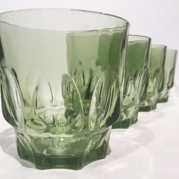 Green Hazel Atlas Tumblers, Vintage Set of 10 Rocks Glasses, Green Thumbprint Drinking Glasses, Retro Barware, Mad Men Green LowBall Glasses