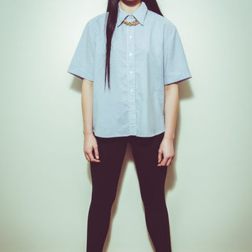 90s Short Sleeved Oversized White & Blue Pinstripe Blouse