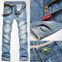New Classic Men Stylish Designed Straight Slim Fit Trousers Casual Jean Pants (33#)