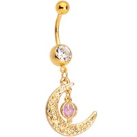 Clear Gem Gold Tone Ornate Moon Orb Dangle Belly Ring