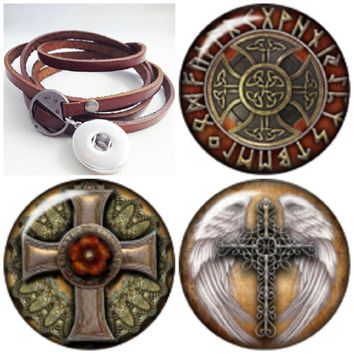 Soft leather 5 wrap Noosa style snap bracelets with 3 glass Cabochon Celtic Crosses. Free Shipping!