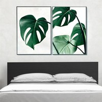 Simple Tropical Green Leaves Unframed Fashionable Big Green Plants Inkjet Oil Canvas Painting Ink Painting Poster Wall Art