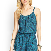 LOVE 21 Abstract Floral Drawstring Romper Black/Turquoise