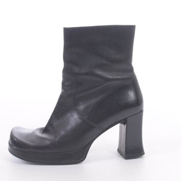 90s Black Leather Boots Tall Ankle Chunky Platform High Heel Minimalist Goth Shoes Vintage Nine West Womens Size US 8 UK 6 EUR 37-38