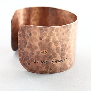 Wide cuff bracelet, copper personalized bracelet, custom engraved bracelet, oxidized copper cuff, design your own jewelry, heart flower sun