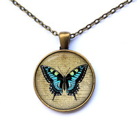 Butterfly jewelry Antique necklace Insect pendant CWAO147-1