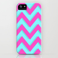 3D CHEVRON TEAL & PINK iPhone & iPod Case by natalie sales