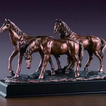 Three Horses Bronze Figurine- 14.5""