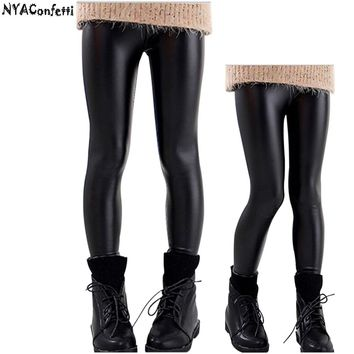 NYNYAConfetti SYLGP04-1 Big Girls PU Leather Winter Double Thick Pants Velvet Girls Leggings Y5-13 Children Pants Kids Clothes