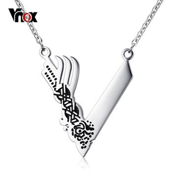 "Vnox Viking Men Necklaces Stylish Letter V shape High Polished Stainelss Steel Punk Tough Male Jewelry 25"" Link Chain"