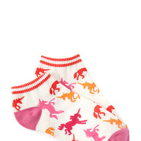 FOREVER 21 Prancing Unicorn Ankle Socks Cream/Pink One