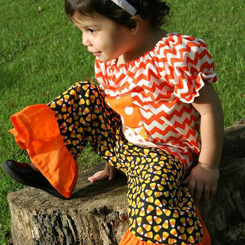 Peasant Top and Ruffle Pants Candy Corn Set/Halloween/Boutique Clothing/Girls Sets/Baby Sets/Toddler Sets