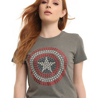 Marvel Captain America Star Studded Logo T-Shirt