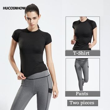 HUCOINHOW 2 Pieces Women Yoga Set Crop Top High Round-collar Shirts Sports Sets Gym Pants Running Clothing For Women Fitness