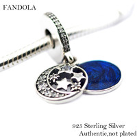 Beads Fits Pandora Bracelet 100% 925 Sterling Silver Vintage Night Sky Midnight Blue Enamel Charms Beads Christmas New Gift