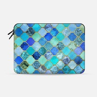 "Cobalt Blue, Aqua & Gold Decorative Moroccan Tile Pattern Macbook 12"" sleeve by Micklyn Le Feuvre 