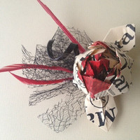 Makers Mark hair clip with ONE Makers Mark flower for Derby, Oaks or Wedding red, black and cream