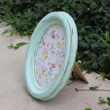 Shabby chic mint green 5 x 7 oval picture frame