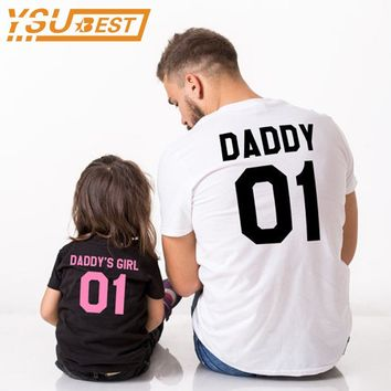 New 2017 Family Matching Outfits Family Look DADDY & DADDY'S GIRL Pattern Family T Shirts Outerwear Father Daughter Clothes