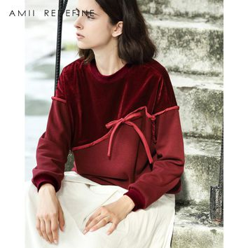 Amii Redefine Casual Velour Patchwork Sweatershirt Women Autumn 2018 Vintage O-neck Knot Asymmetric Solid  Sweatershirt Hoodies