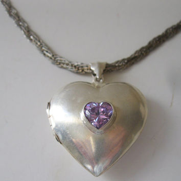Sterling Silver Amethyst Heart Shaped Puffy Locket Abalone Lining