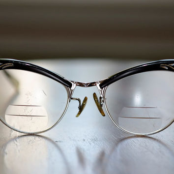 Estate Sale Vintage Cat Eyeglasses 1950s 1960s Black with Gold and Silver Gold filled American Optical