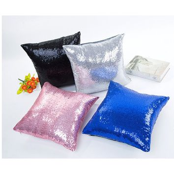 Brand New Pure color paillette Soft Square Pillow Cases Sofa Car Seat Throw pillow Cushion Cover Home Decoration